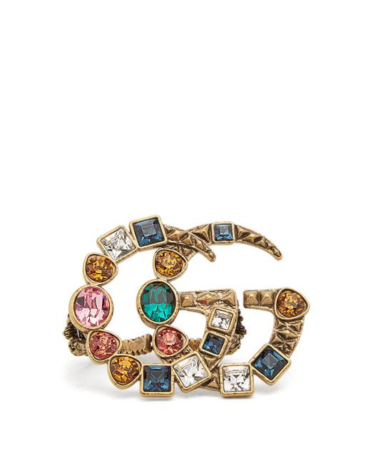 Gucci - Metallic Gg Crystal Embellished Ring - Lyst