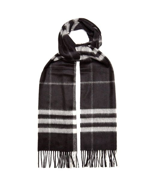 Burberry - Black Giant Icon-check Cashmere Scarf for Men - Lyst