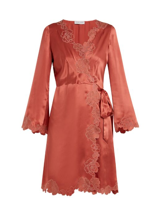Carine Gilson - Pink Lace Trimmed Silk Satin Robe - Lyst