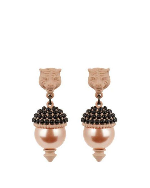 Gucci - Pink Pearl-effect Embellished Tiger Earrings - Lyst