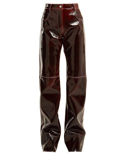 MSGM - Brown Relaxed Crinkle Effect Vinyl Trousers - Lyst