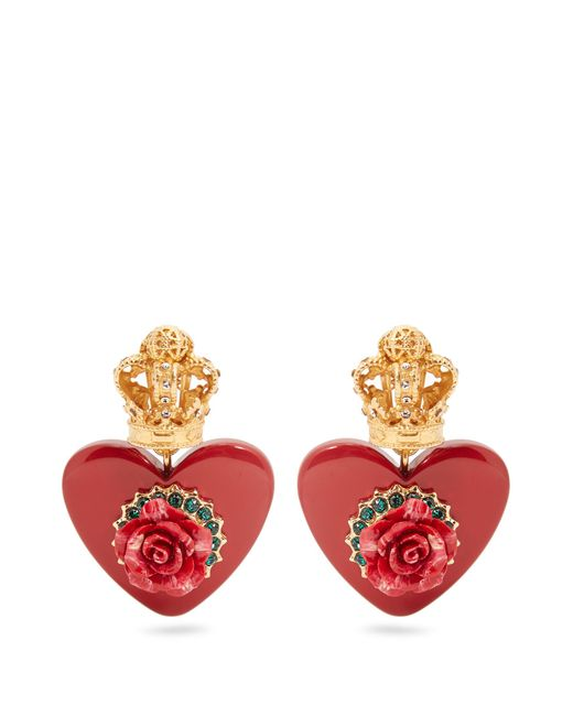 Dolce & Gabbana | Red Crown And Heart-embellished Clip-on Earrings | Lyst