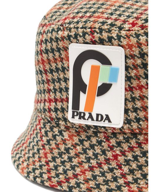 a39d90d1f25 ... Prada - Multicolor Houndstooth Wool Tweed Bucket Hat - Lyst ...
