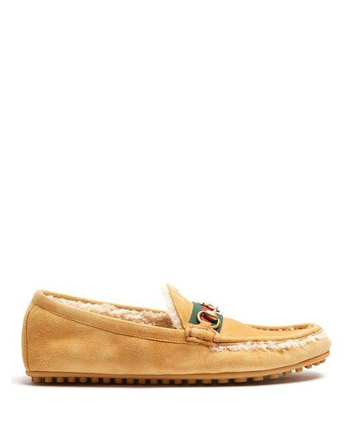 Gucci - Multicolor Shearling Lined Driving Loafers for Men - Lyst