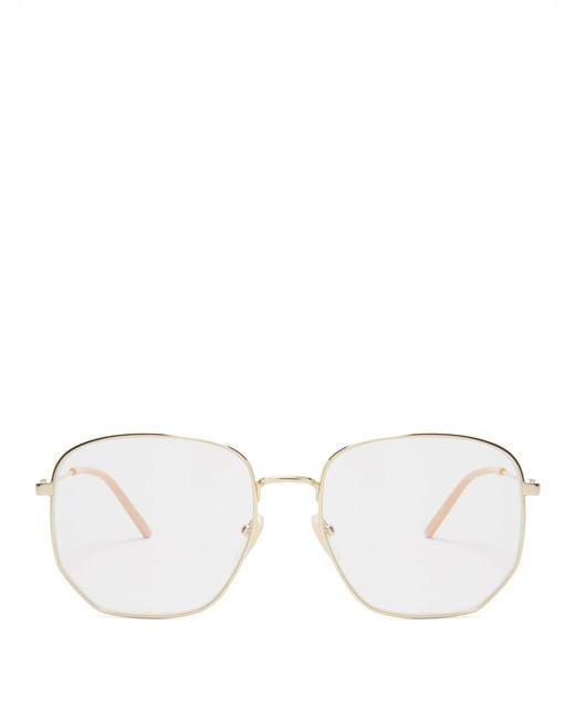 81deca8f3b559 Gucci - Metallic Square Frame Metal Glasses for Men - Lyst ...