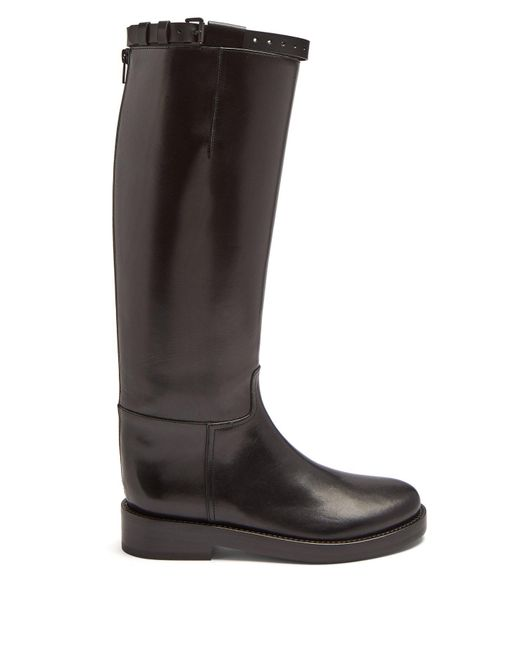 Ann Demeulemeester - Black Knee High Leather Boots - Lyst
