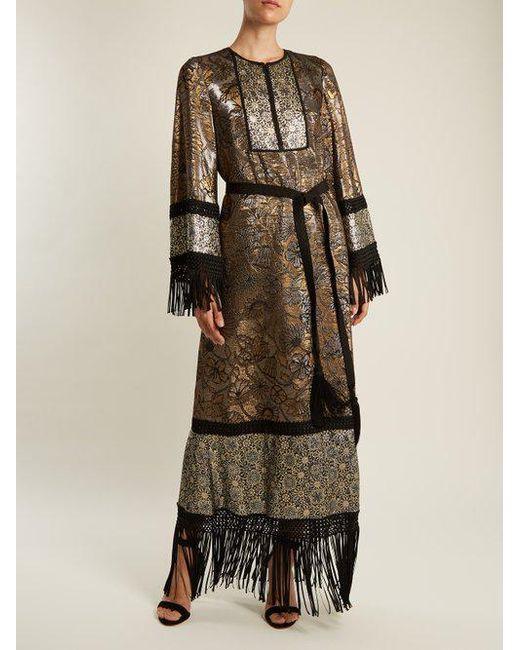 Fringed-edge tie-waist brocade gown Andrew Gn LA33CX1yy