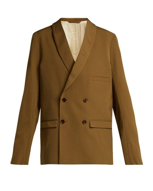 Lemaire - Brown Double-breasted Crepe Blazer - Lyst