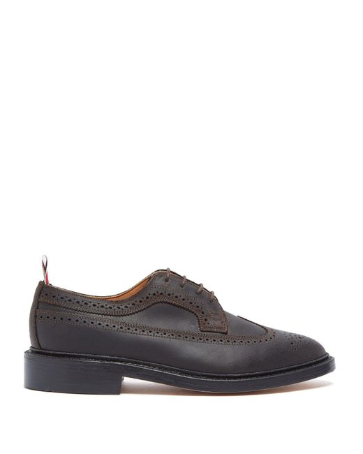 Thom Browne - Brown Longwing Brushed Leather Brogues for Men - Lyst