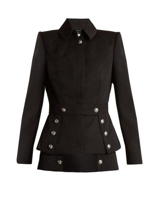 Alexander McQueen - Black Military-button Grain De Poudre Jacket - Lyst