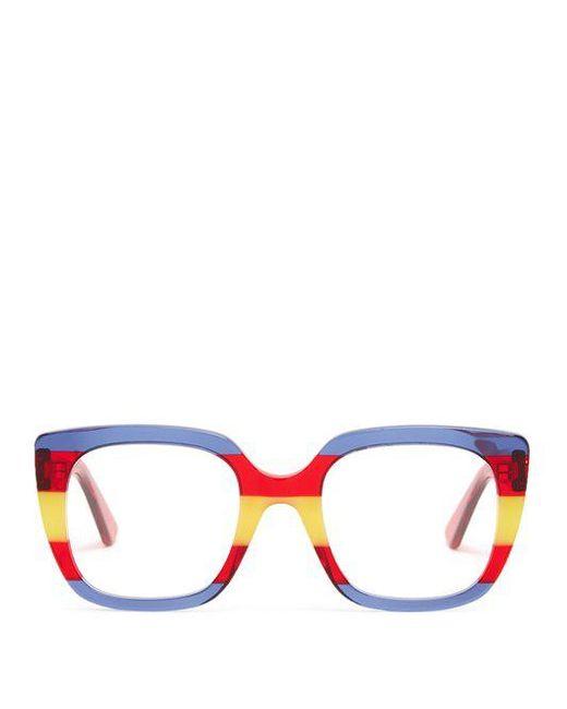 Striped square-frame acetate glasses Gucci QDvFb