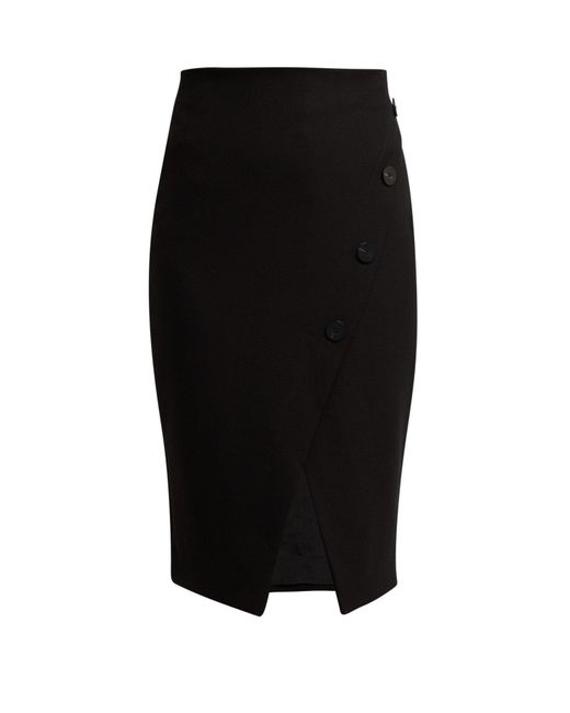 Cefinn - Black Buttoned Ponte Pencil Skirt - Lyst
