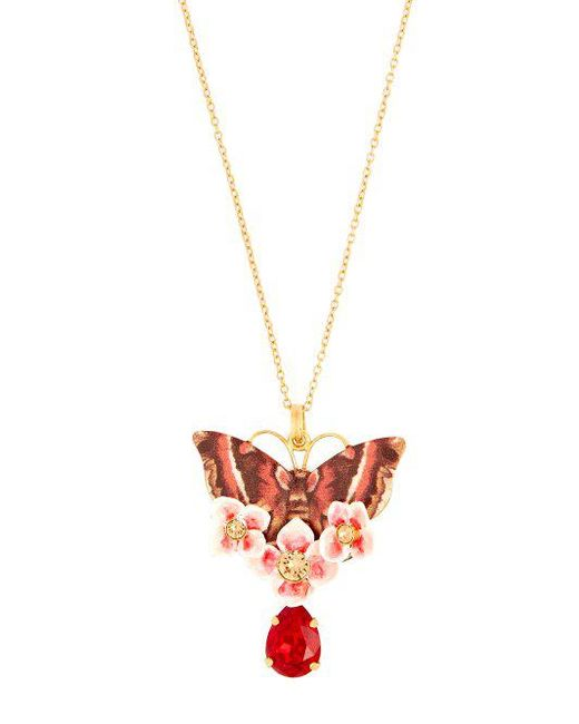 Dolce & Gabbana - Metallic Butterfly Crystal Embellished Necklace - Lyst