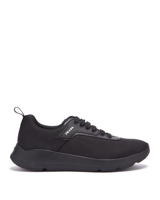Prada - Black Logo-embellished Knitted Low-top Trainers for Men - Lyst