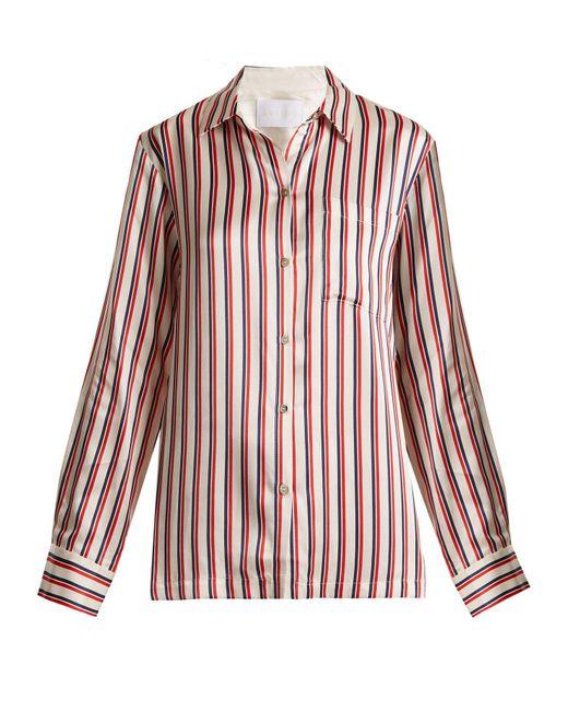 Beautiful Bottoms - Red Patch Pocket Striped Silk Pyjama Shirt - Lyst