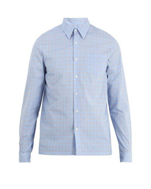 Point-collar checked cotton shirt Prada Cheap Sale Browse xAADcX