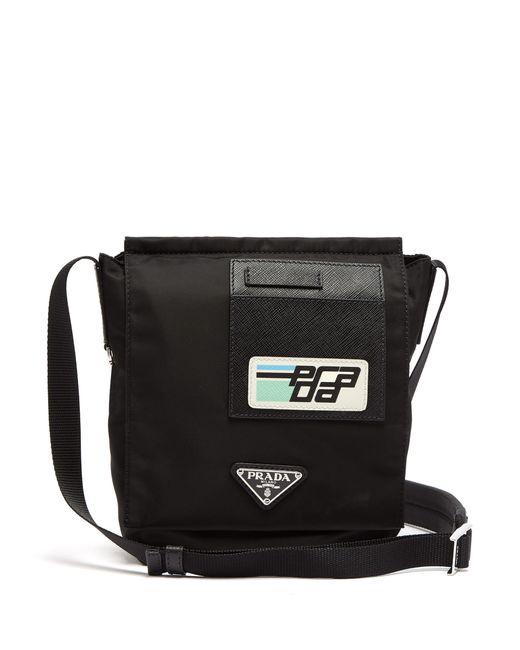 Prada - Black Logo-plaque Nylon Cross-body Bag for Men - Lyst