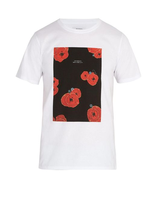 Saturdays NYC - White Floater Fill Cotton T-shirt for Men - Lyst
