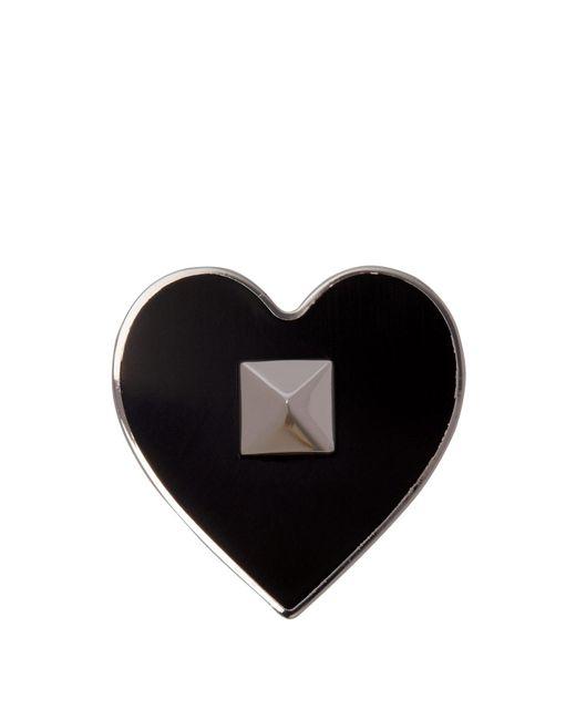 Valentino - Black Rockstud Embellished Heart Brooch for Men - Lyst