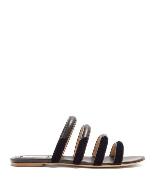 GABRIELA HEARST Anderson leather and velvet slides Classic whWYXN