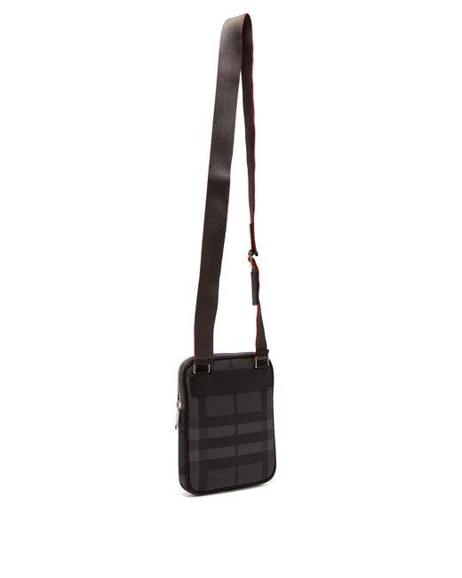 9f133034c55a ... Burberry - Gray Slim Ekd London Check Crossbody Bag for Men - Lyst ...