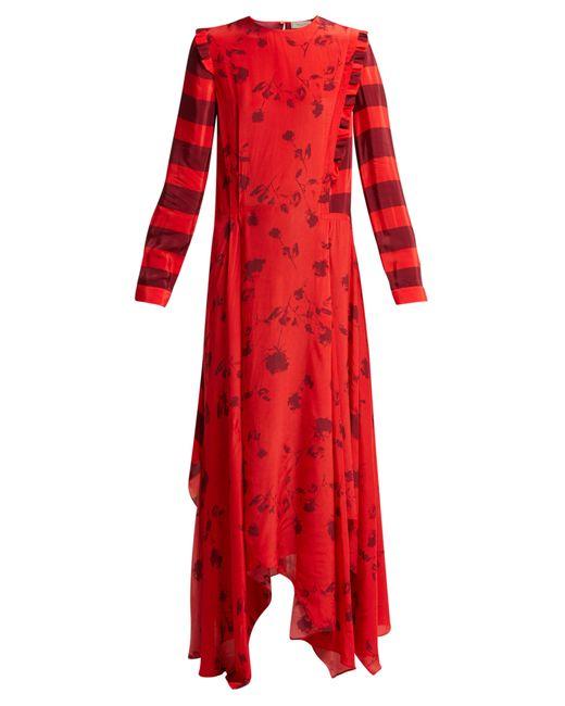 Red Handkerchief Hem Dress