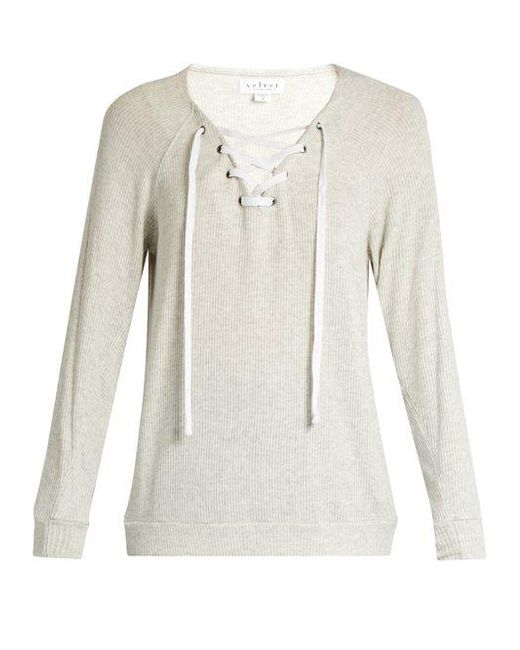 Velvet By Graham & Spencer - Gray Billow Lace-up Jersey Top ...
