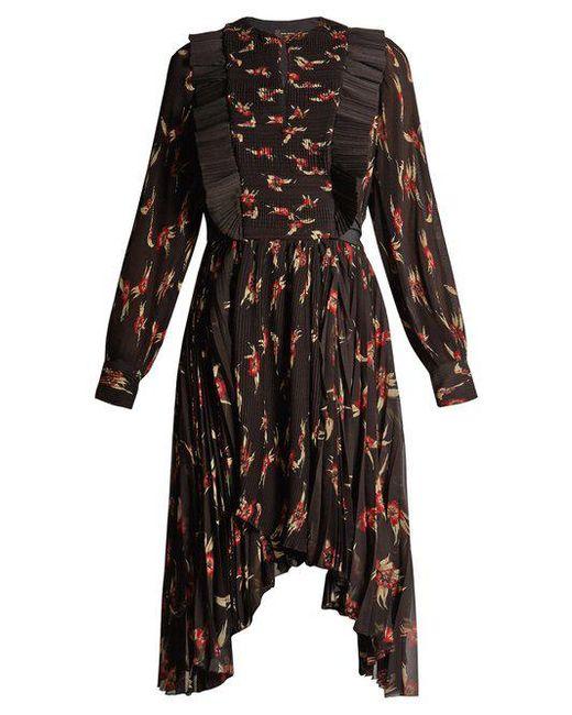 Isabel Marant - Black Wesley Floral-print Pleated Dress - Lyst