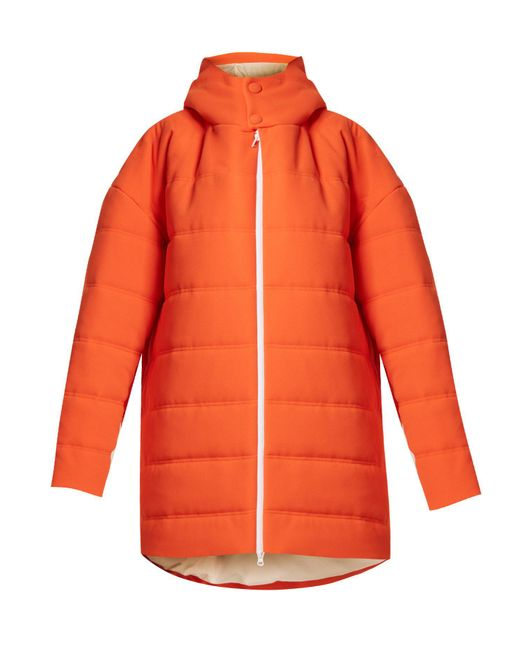 Awake - Orange Oversized Quilted Padded-coat - Lyst