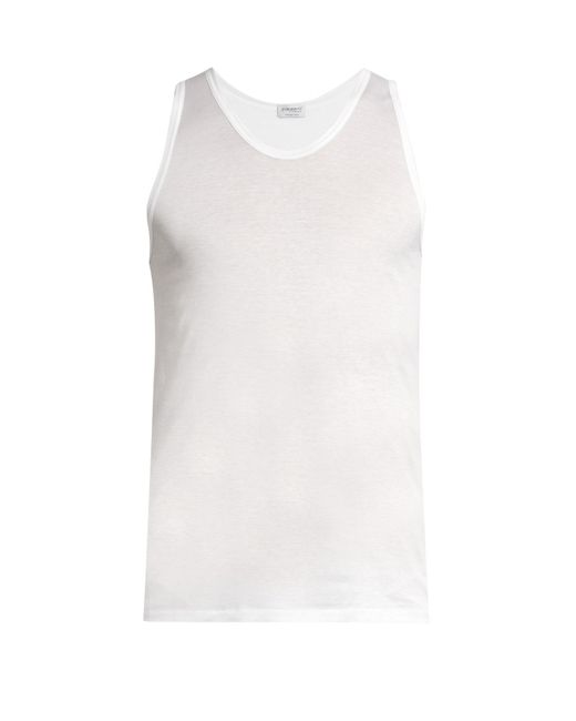 Zimmerli - White Royal Classic Scoop-neck Cotton Vest for Men - Lyst
