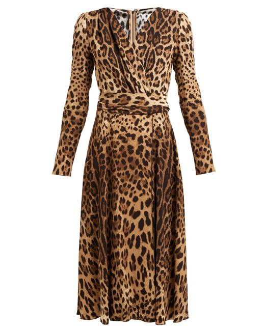Dolce   Gabbana - Brown Leopard Print Belted Dress - Lyst ... 4f27bb824
