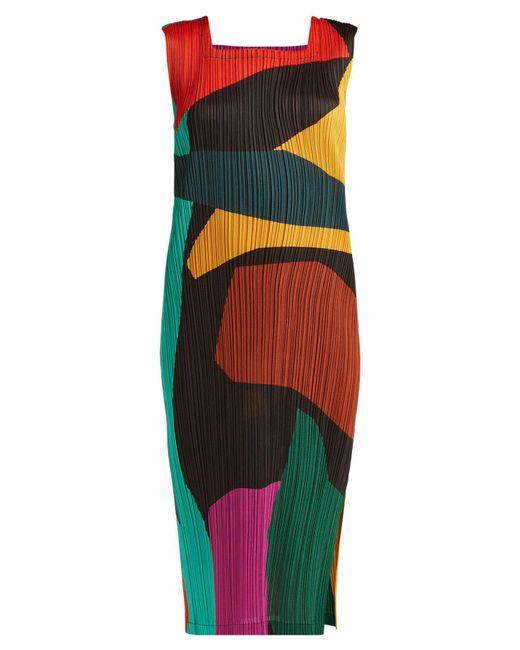 Pleats Please Issey Miyake - Multicolor Clumpy Colour Block Pleated Midi Dress - Lyst
