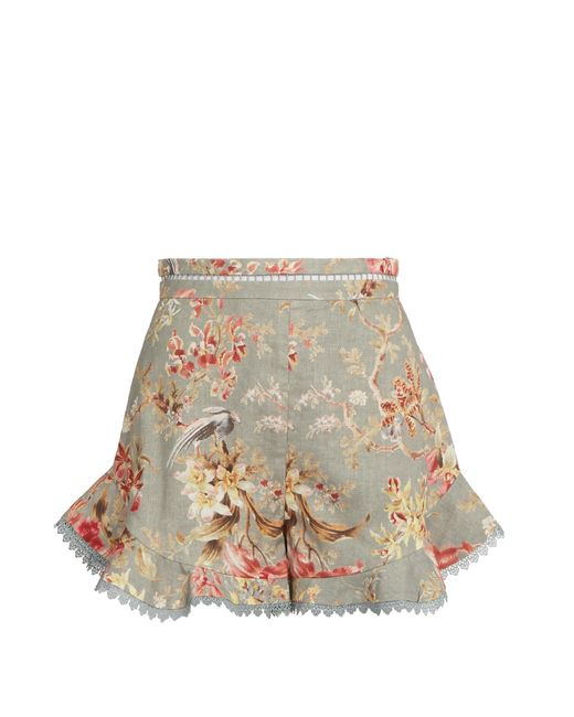 Zimmermann | Multicolor Mercer Flutter Frill Linen-blend Shorts | Lyst