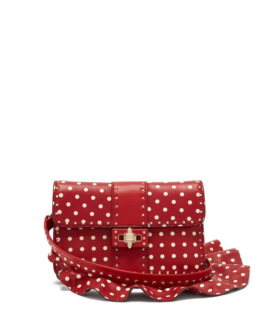 Valentino - Red Rockstud Polka-dot Cross-body Leather Bag - Lyst