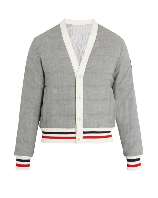 Moncler Gamme Bleu - Gray Striped Trim Quilted Down Bomber Jacket for Men - Lyst
