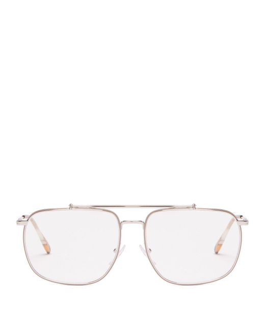 Prada - Metallic Aviator Frame Metal Glasses for Men - Lyst