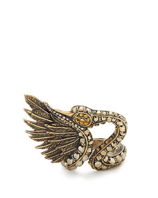 Lanvin | Metallic Crystal-embellished Swan Ring | Lyst