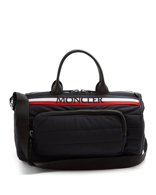 Moncler - Black Striped Logo-embroidered Quilted-nylon Holdall for Men - Lyst