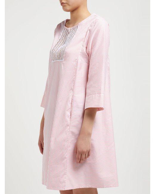 29760a8892 ... Thierry Colson - Pink Talitha Cotton And Silk Blend Stripe Kaftan -  Lyst ...