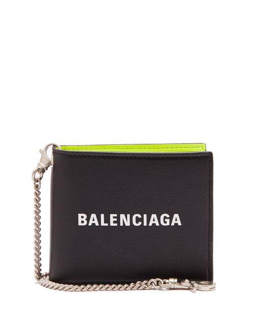 Balenciaga Portefeuille en cuir à deux volets et imprimé logo WMnDr