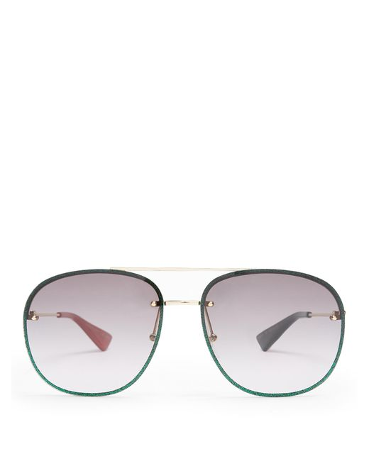 b8a922bc75 Gucci Aviator Blue Glitter Sunglasses