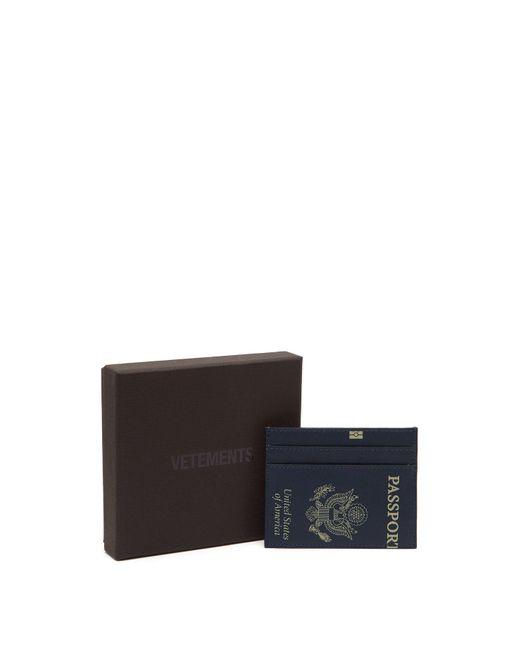 139b875c48e ... Vetements - Blue Passport Print Leather Cardholder - Lyst ...