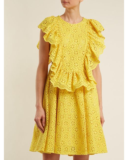 Ruffle-trimmed broderie-anglaise cotton dress Msgm d2l5ph