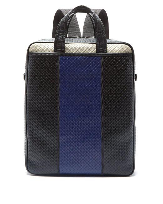63ac8ee0c6f0 Bottega Veneta - Black Convertible Striped Intrecciato Leather Bag for Men  - Lyst ...