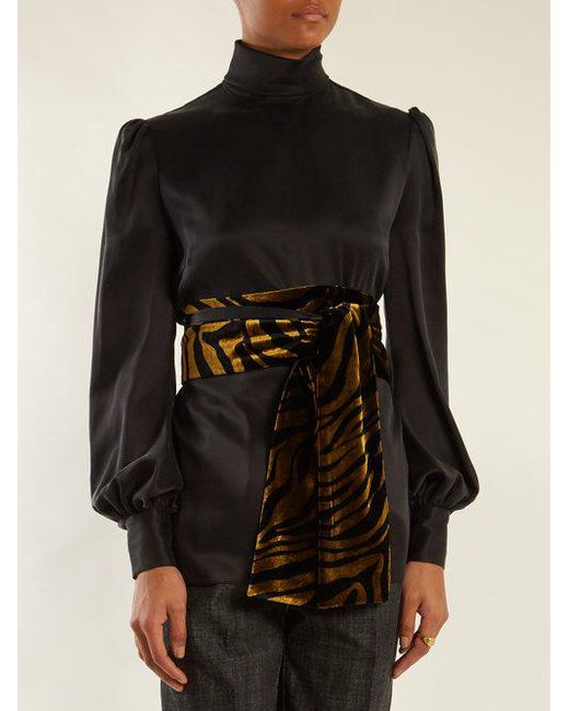 Footlocker For Sale Outlet Limited Edition Bishop-sleeved tie-waist sandwashed-silk blouse Hillier Bartley 3trfnO