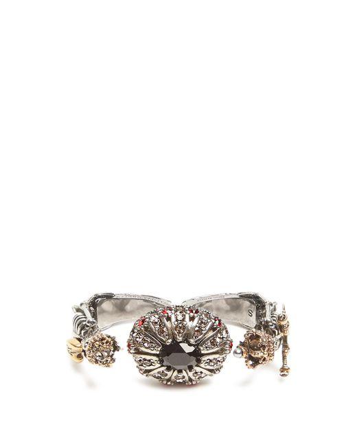 Alexander McQueen | Metallic Embellished-skeleton Double Ring | Lyst