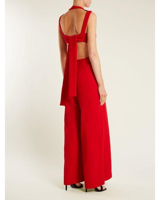 d67f6149988 ... Emilia Wickstead - Red Ethel Wide Leg Wool Crepe Jumpsuit - Lyst ...