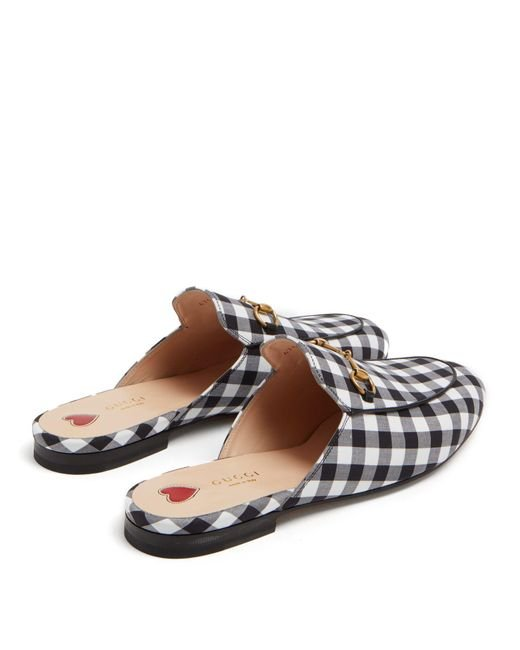 22cdbbedee5 ... Gucci - Black Princetown Gingham Backless Loafers - Lyst ...