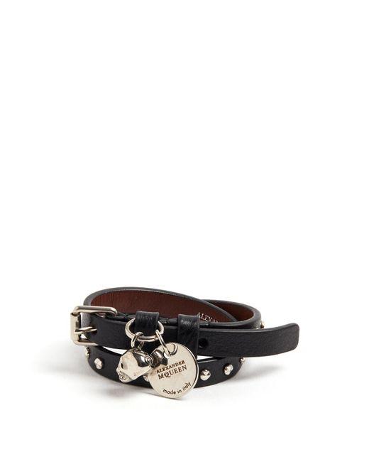 Alexander McQueen - Black Skull-charm Studded Leather Wraparound Bracelet for Men - Lyst