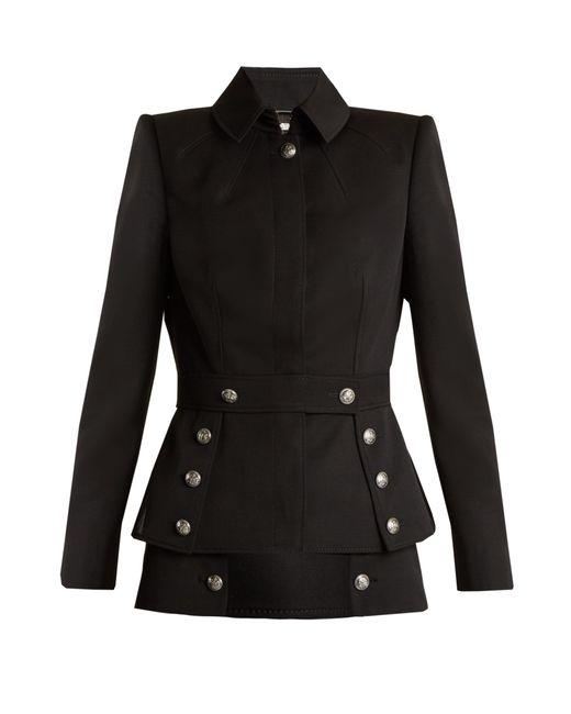 Alexander McQueen | Black Military-button Grain De Poudre Jacket | Lyst